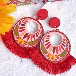 Boho Earrings Fringe Hippie Wood Painted Drop Post